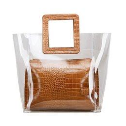 25847253b9c8 Fashion Women Plastic Transparent Totes Female Jelly Handbags Casual Shopping  Handbag Women clear bag
