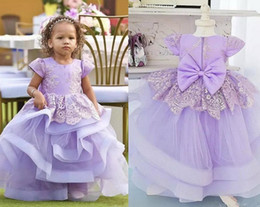 big short dresses for kids 2021 - Lavender Tiered Ball Gown Flower Girl Dresses For Wedding Big Bow Appliques Jewel Neck Todder Tulle Kids Prom Dress Short Sleeve