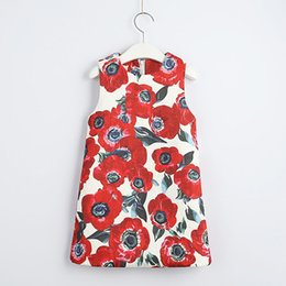 Korean red flowers online shopping - Red Flower Printed Sleeveless A shaped Dress Korean Girl princess Dress kids boutiques skirts cheongsam children clothes