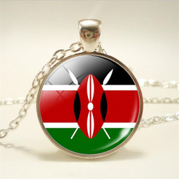$enCountryForm.capitalKeyWord Australia - Cute Time Gem Glass Cabochon Kenya National Flag World Cup Football Fan Long Sweater Chain Pendants Necklace Accessary Simple Choker Jewelry
