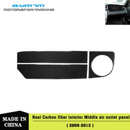 side car sticker Canada - Real Carbon fiber Be the side air outlet of copilot Car interior stickers For Mustang