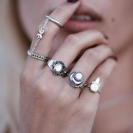 Boho Style Rings Australia - 4pcs Set Rings Sun Moon Silver gold Ring For Women Fashion Boho Style Jewelry Retro Bohemian Siamese Chain Mittens