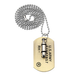 men dog tags NZ - Stainless Steel Chain Jewelry Man Military Card Stainless Steel Dog Tags Pendant Necklace Fashion for Necklaces 70cm Long Beads Chain