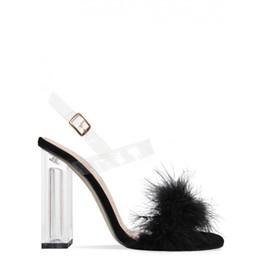 1173cc0a6 Lucky2019 Produto Transparente Sandálias De Cristal Cabelo Preto Coelho  Grosso Princesa Shallow Toes Abertos Sapatos de Salto Alto