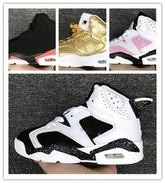 Cheap Boys Canvas Shoes Australia - 2019 New Childrens Basketball Shoes Kids 6 Metallic Gold Sports Shoes Boys Girls Youths Black Infrared Athletic Sneakers Cheap For Sale