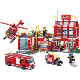 Build Toy Helicopter Australia - sermoido 970pcs City Fire Station Truck Firefighter Helicopter Large Model Building Blocks Toys Compatible with legoings