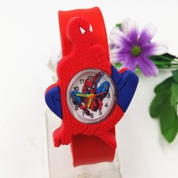 Snap Cartoon Australia - Silicone Coloful Candy Cartoon Slap watches 3D Kid Watch Spiderman Batman kids children Rabbit cartoon Snap slap watches