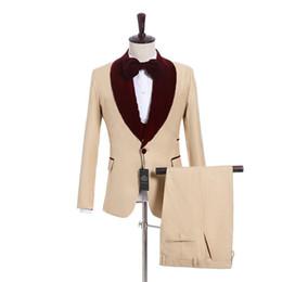 Gray Suit Champagne Tie UK - Champagne Groom Tuxedos Burgundy Velvet Lapel Mens Wedding Tuxedos Slim Fit Man Jacket Blazer 3 Piece Suit(Jacket+Pants+Vest+Tie) 170