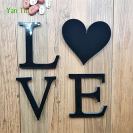 love stickers Australia - 3set 28pcs English Letters Acrylic Mirror Surface Wall Sticker Black Self-adhesive LOVE Alphabet Poster Wedding Decoration DIY Art Mural