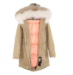 long hooded parka women UK - Women's Slim style thin waist Long down Parkas hooded with 2 colors Raccoon fur collar Sandra_studios