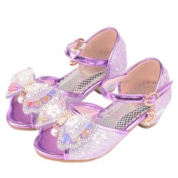 Chinese  Girls Sandals 2019 Fashion Fish mouth Colorful Bright-heeled princess sandals dance shoes 5-13 years old summer high Heel Princess shoes manufacturers