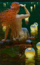 $enCountryForm.capitalKeyWord Australia - Hot Art Decor Fantasy Vintage Mermaid Oil painting Wall Picture Printed on Canvas series Reproduction Modern office Living Room Decor V013