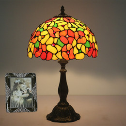 stained glass desk lamps 2019 - Nordic Stained Glass Flowers Shade Table Lamp Bedroom Bedside Table Lamps Light For Living Room Vintage Luxury Decoratio