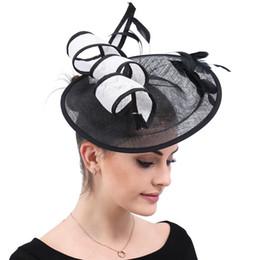 $enCountryForm.capitalKeyWord Australia - Formal Black and white Fascinator Hat For Women White Flower Ladies Hats Wedding Party Cocktail Headwear