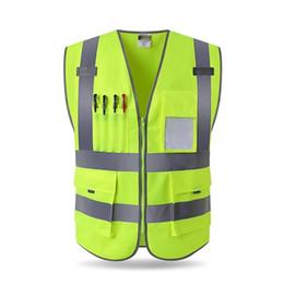 $enCountryForm.capitalKeyWord Australia - 10PCS Custom Logo High Visibility Reflective Vest Working Clothes Motorcycle Cycling Sports Outdoor Reflective Safety Clothing