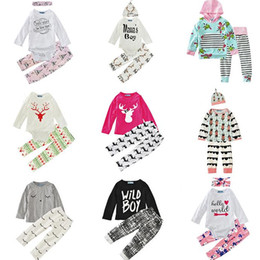 infant winter suits NZ - Baby Boys Girls Clothing Sets 29 Design Christmas Snow Winter Autumn Casual Suits Shirts Pants Hat Infant Outfits Kids Tops & Shorts 0-24M