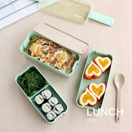 Japanese Box Set Australia - New Arrive 750ml Japanese Microwave Lunch Box Portable 3 Layer Bento Box Healthy Food Container Oven Dinnerware set