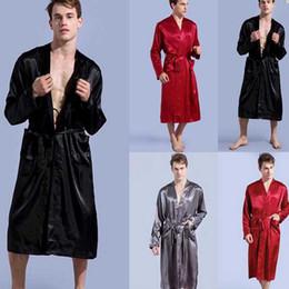 $enCountryForm.capitalKeyWord NZ - Black Long Sleeve Chinese Men Rayon Robes Gown New Male Kimono Bathrobe Sleepwear Nightwear Pajamas S M L XL XXL