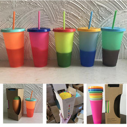 magic mug color Australia - cheapest ! 24oz Plastic Color Changing Cup PP temperature sensing Magic Drinking cup with lid and straw Candy colors Reusable coffee mug