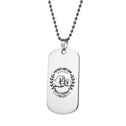 $enCountryForm.capitalKeyWord Australia - Father and son 316L Stainless Steel Pendant Necklaces Engrave Name Hand in hand ID Tag Necklaces Customized Logo Jewelry