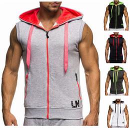 Zipper Tanks Australia - 2019 Male Bodybuilding Hoodies Fitness Clothes Cotton Hoodie Men Sweatshirts Men's Sleeveless Tank Tops Casual Vest Zipper Y