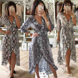 sexy snakeskin dresses Australia - Hirigin Brand Sexy Dress 2019 New Style Women Vintage Snakeskin Printed Deep V Neck Long Sleeve Split Long Maxi Dress Clubwear