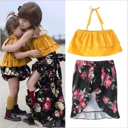 Skirt pantS baby girl online shopping - Baby Clothes Girls Floral Summer Suits Kids Clothing Sets Fashion Boutique Tops Ruffle Diaper Pants Flower Strapless Skirts Outfits C4904