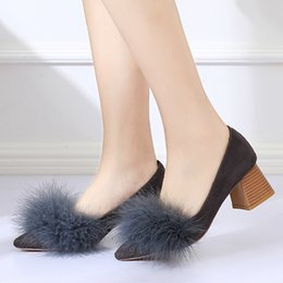 Fur Shoes Rabbit Women Australia - Designer Dress Shoes 2019 New Style Rabbit Fur Pumps Square Heeled Dress Winter Pump Pointed Toe Woman Faux Fur Ol Office Lady 6868