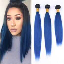 $enCountryForm.capitalKeyWord Australia - Straight 1B Blue Ombre Brazilian Virgin Human Hair Weaves 3Pcs Lot Black and Dark Blue Ombre Human Hair Bundles Deals Double Wefted