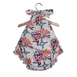 f052b7321643 Baby girls Sling Hanging neck Romper Newborn infant arrow Floral print  Jumpsuits 2019 summer Boutique Kids Climbing clothes 3 colors C6280