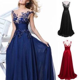$enCountryForm.capitalKeyWord Australia - Embroidered Lace Chiffon A Line Bridesmaid Dresses Long Custom Made Sheer Neck Sleeveless Prom Gown Sweep Train Plus Size Sequined AL2637