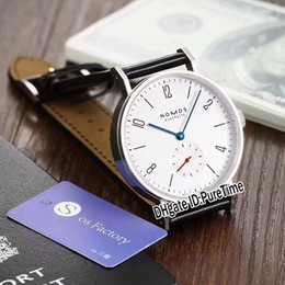 Silver Black Red Australia - Best Edition Nomos Tangente neomatik Reference 175 Steel Case Silver Dial Black Number Mark Blue Red Hands Automatic Mens Watch Leather 14c3