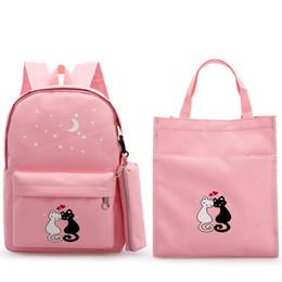 $enCountryForm.capitalKeyWord Australia - Classic Women Bag For Girl School Backpack Cat Print 3PCS  Set Children Bags Orthopedic School Backpack Kids Canvas Backpacks