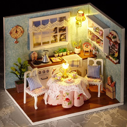 wooden doll house handmade NZ - Handmade Doll House Furniture Miniatura Diy Doll Houses Miniature Dollhouse Wooden Toys For Children Grownups Birthday Gift H08 Y19070103