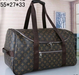 Brown leather duffle Bag online shopping - Christmas Brand Fashion L and V duffle travel bags luggage designer leather handbags large totes black brown