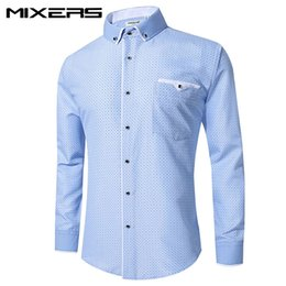 Big comBs online shopping - 2018 Brand Blue Printed Dress Shirt Men Long Sleeve Big Size Combed Cotton Casual Shirts Men Formal Dress Shirt Mens