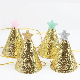 movie star party decorations NZ - 10pcs Party Hats Glitter Star Hats Headdress Wedding Girl Friend Kid's Birthday Party Decorations Baby Shower Party Hats SH190923