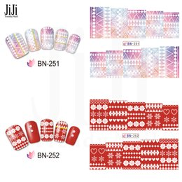 pattern decor Australia - 1xColorful Grid Christmas Patterns Watermark Sticker Nails Art Transfer Decal Tattoos DIY Decor Tip JIBN249-252