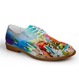 China Noisydesigns Fashion Graffiti Painting Men Casual Leather Shoes Breathable Lace up Flats for Man High Quality Male Oxford Shoes cheap mahogany paint suppliers
