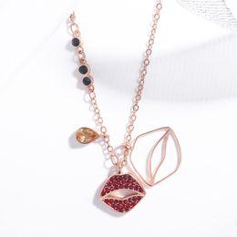 Discount swarovski rhinestone chain - Swarovski new hot 18K gold inlaid Austrian crystal red lip pendant necklace Women's personality fashion jewelry Bes