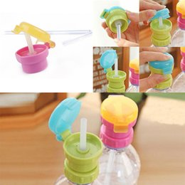 cute plastic straws Canada - Children Cute Feeding Drinking Cup Mill Anti-Overflow Beverage Portable Bottled Straw Cover Water Cup Cover