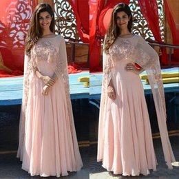 Beaded jackets women online shopping - Blush Pink Arabic Women Evening Dresses with Wrap Sheer Beaded Cape Saresuit Custom Make Formal Occasion Prom Party Gowns