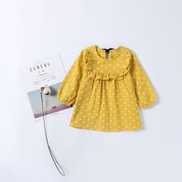 Dot Line Dress Australia - Fashion Children Princess Girl Dot Pattern Print Yellow Dress Full Sleeve with Sashes Bow Cute Baby Girls Dress with Ruffles