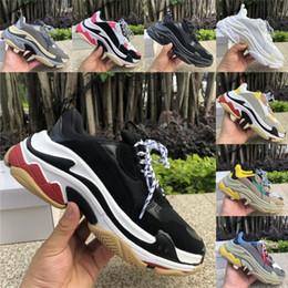 Women s flat leather shoes online shopping - Top Quality Triple S Trainers Sneakers Split Black Grey Triple White Platform Casual Shoes men women fashion Luxury designer Shoes