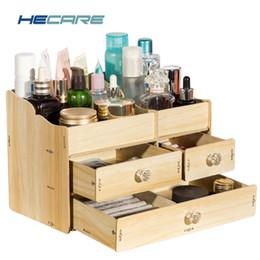 Pink Wooden Box Australia - New Wooden Storage Box Organizer for Cosmetics Home Bathroom Wood Box for Makeup Drawer Organizer Pink Blue Desktop Make Up