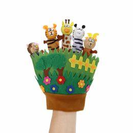 Toys Finger Australia - animal puppets Cute Zoo Animal Puppet Finger Toy Kids Cartoon Dolls Plush Toys Baby Hand Glove Finger Puppets for Children