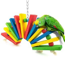 Bird Blocks Australia - Parrot Toys Colour Sector Building Block Gnaw Toys Swing Rotating Climb The Ladder To Climb Ladder Scaling Ladder Bird Toys