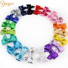 "$enCountryForm.capitalKeyWord Australia - bow accessories New Arrival 20colors 100pcs lot Boutique Knot Applique 1.8"" Sequin Bow Girl Beauty Bows Accessories Headwear Hair Clip"