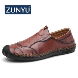 lazy man leather shoes 2019 - ZUNYU New Men Shoes Genuine leather Comfortable Men Casual Shoes Footwear Chaussures Flats Slip On Lazy Zapatos Hombre c