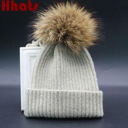 wool ball hat children 2019 - Which in shower real raccoon fur pompom children warm wool winter beanie hat kids boy girl knit fur cap with pom pom bal